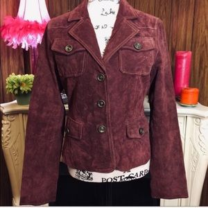Wilsons Leather Deep Red Suede Jacket